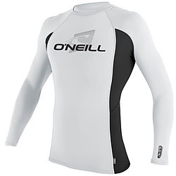 more on Oneill Mens 6oz Skins LS Crew Rash Vest Black White