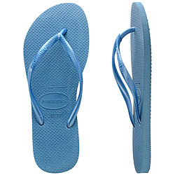 more on Havaianas Ladies Slim Metallic Steel Blue Thongs