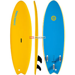 more on Gnaraloo Flounder Pounder Yellow Blue Soft Surfboard