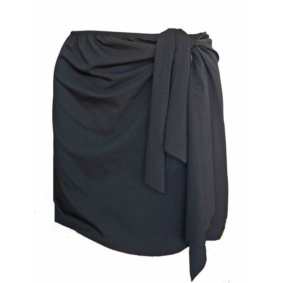 Wrap Swim Skirt - Black Chlorine Resistant - Image 2