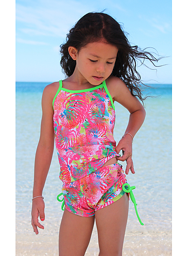 Girls Printed Chlorine Resist Tankini Top - Fish Print - Image 2
