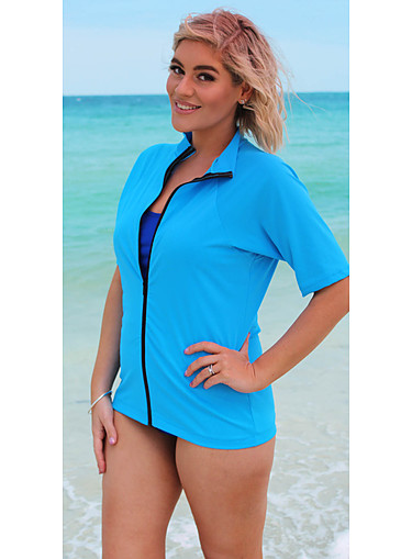 Zip Short Sleeve Rash - Sky Blue 2XL- 4XL - Image 1