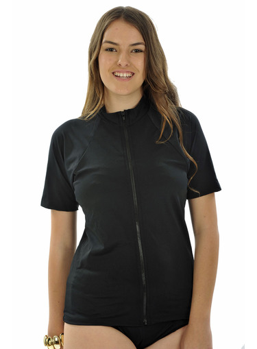 Zip front Short Sleeve Rash Shirt - Black Plus Size - Image 1