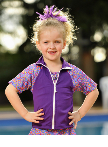 Girls Zip Front Rash shirts - Violet with Candy Sleeves - Image 1
