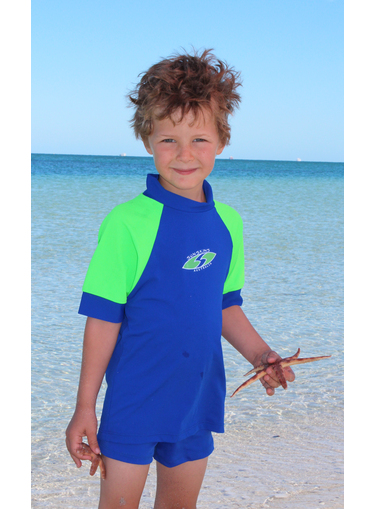 Boys Rash shirts - Cobalt with Lime Sleeves - Image 1