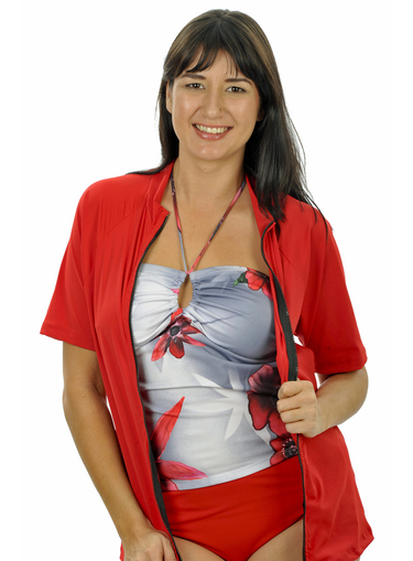 Zip front Short Sleeve Rash Shirt - Red Plus Size - Image 1