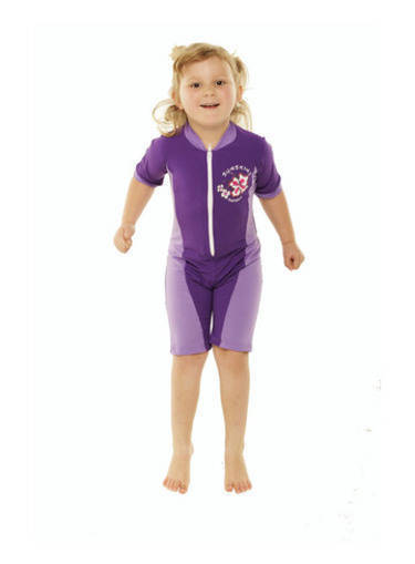 Girls Bodysuit Zip Front - Violet and Lilac - Image 1