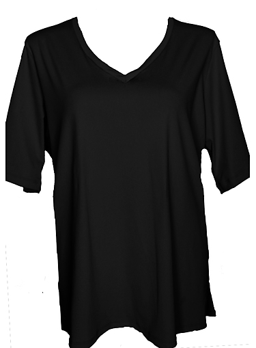 V Neck Rash Shirt - Black Chlorine Resist - Image 1