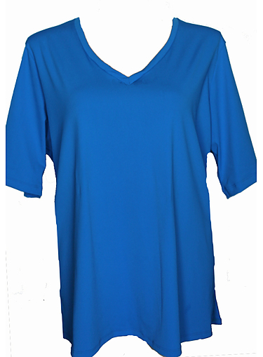 V Neck Rash Shirt - Blue Chlorine Resist - Image 1