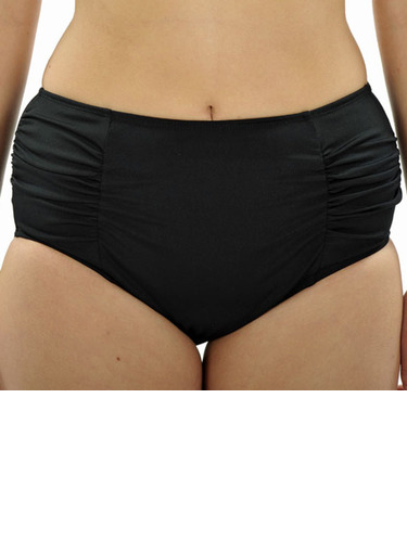 Full Briefs with Ruching - Black Chlorine Resistant - Image 1
