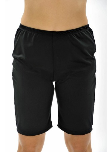 Long Swim Shorts - Black Chlorine Resistant - Image 1