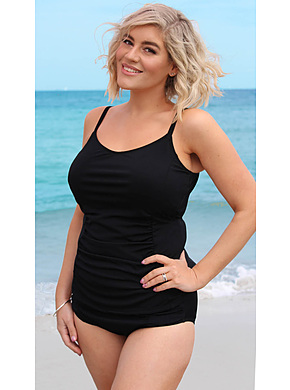 Tankini Top with Adjustable Straps Black Chlorine Resist