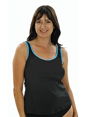 more on Tank Top - Black with Contrast Teal Binding