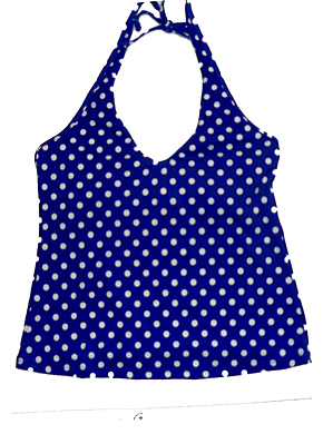 Halter Top Blue Polka Dot Lycra