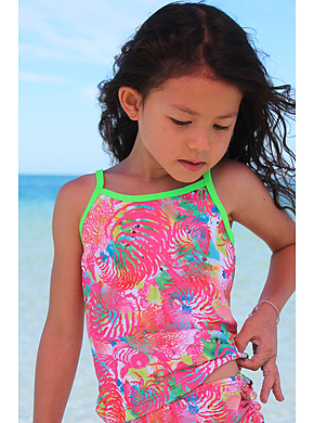 Girls Printed Chlorine Resist Tankini Top - Fish Print