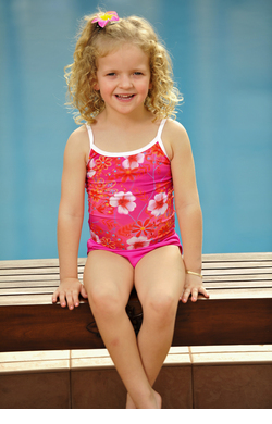 Girls Printed Chlorine Resist Tankini Top - Blossom