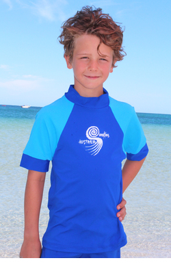 Boys Rash shirts - Cobalt with Light Blue Sleeves