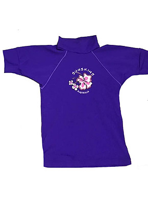 Girls Rash Shirts -Violet with Lilac Sleeves