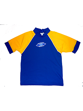Kids rash shirt - Chlorine Resist Royal with Yellow Sleeves