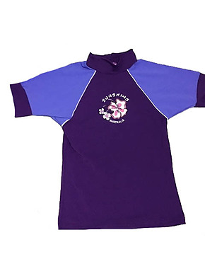 Toddler Girls Rash Shirts - Chlorine Resist Violet with Lilac Sleeves