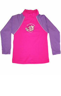 Girls Long sleeve rash shirt - Pink with Lilac Sleeves