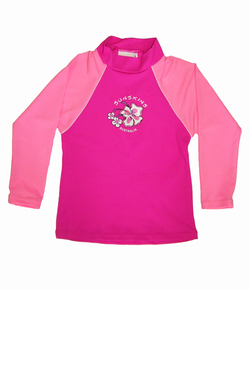 Girls Long sleeve rash shirt - Pink with Light Pink Sleeves