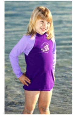 Girls Long sleeve rash shirt - Violet with Lilac Sleeves
