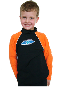 Boys Long sleeve rash shirt - Black with Orange Sleeves