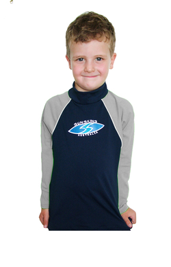 Boys Long sleeve rash shirt - Navy with Grey Sleeves