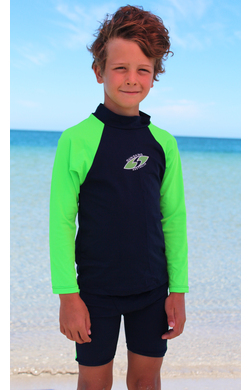 Boys Long sleeve rash shirt - Navy with Lime Sleeves