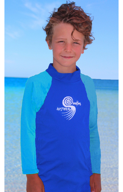 Boys Long sleeve rash shirt - Cobalt with Light Blue Sleeves