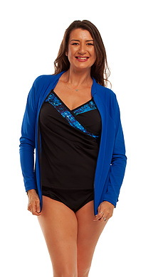 Zip Long Sleeve Rash  - Cobalt  2XL - 4XL
