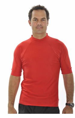 Mens Short Sleeve Rash Shirt   - Red