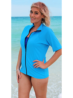 Zip Short Sleeve Rash - Sky Blue 2XL- 4XL