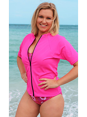 Zip Short Sleeve Rash - Pink S - XL