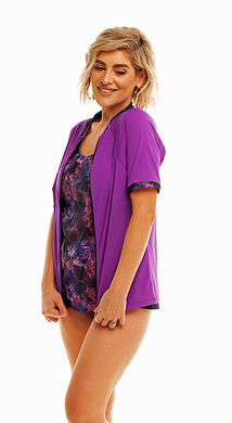 Zip Short Sleeve Rash - Purple with Lani Trim S - XL