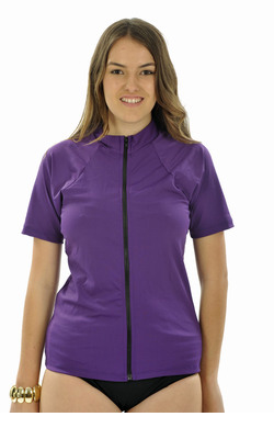 Zip front Short Sleeve Rash Shirt - Purple Plus Size