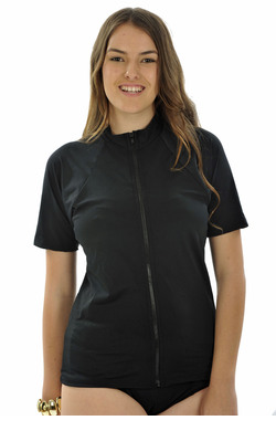 Zip front Short Sleeve Rash Shirt - Black Plus Size
