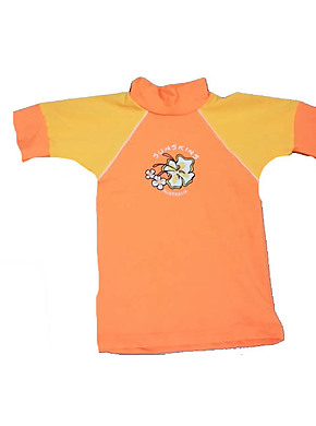 Girls Rash Shirts - Chlorine Resist Orange Yellow Sleeves