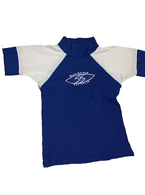 Toddler Boys Rash shirt - Chlorine Resist Royal with White Sleeves