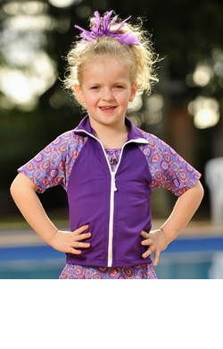 Girls Zip Front Rash shirts - Violet with Candy Sleeves
