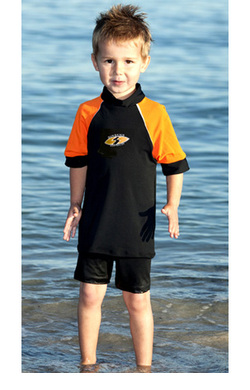 Boys Rash shirts - Chlorine Resist Black with Orange Sleeves