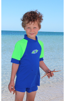 Boys Rash shirts - Cobalt with Lime Sleeves