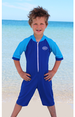 Boys Bodysuit Zip Front - Cobalt and Light Blue