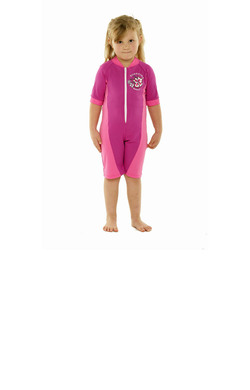 Girls Bodysuit Zip Front - Pink and Light Pink