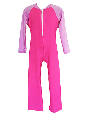 Girls Long Sleeve and Leg Bodysuit Zip Front - Pink CR