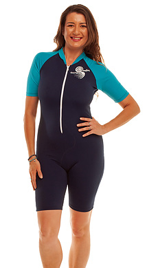 Short Sleeve Zip Front Bodysuit Suit 50+ Sun Protection Chlorine Resist