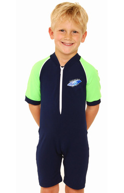 Boys Bodysuit Zip Front - Navy and Lime