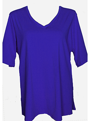 V Neck Rash Shirt Plus Size - Purple Chlorine Resist