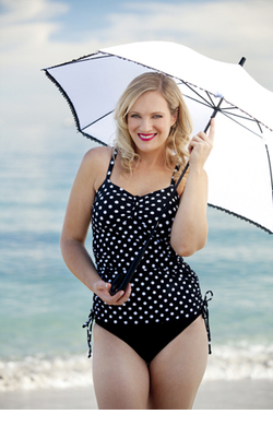Bow Tankini Top Black and White Polka Dot